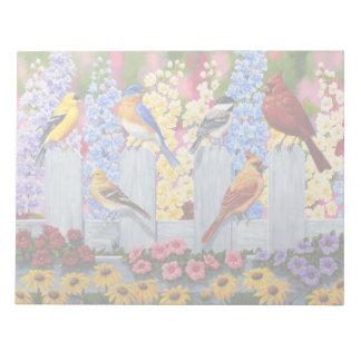 Buntes Frühlings-Vogel-Garten-Party Notizblock