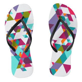 Buntes geometrisches Dreieckmuster Flip Flops