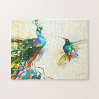 """Buntes Gesprächs-"" Kolibri u. Pfau Puzzle"
