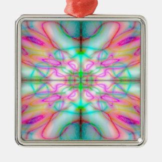 Buntes gezeichnetes Muster Quadratisches Silberfarbenes Ornament