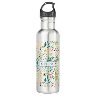 Buntes Glitter-Blumen-Muster mit Monogramm Trinkflasche