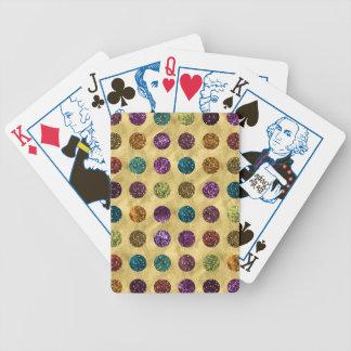 Buntes Glitter-Polka-Punkt-Gold Bicycle Spielkarten