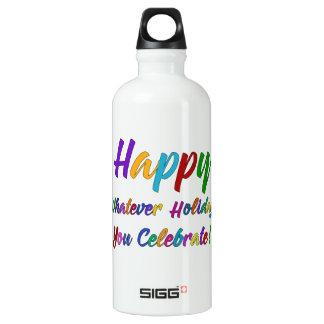 Buntes glückliches, was Feiertag Sie feiern! Wasserflasche