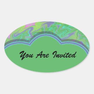 Buntes grün-blaues abstraktes Party laden ein Ovaler Aufkleber