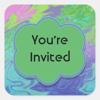 Buntes grün-blaues abstraktes Party laden ein Quadrat-Aufkleber