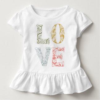 Buntes Hand-gezeichnetes Blumenrüsche-T-Stück der Kleinkind T-shirt