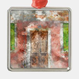 buntes Haus in Burano Insel Venedig Italien Silbernes Ornament