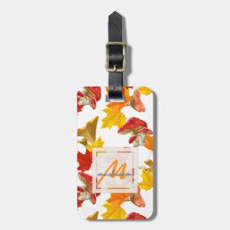 Buntes Herbst-Blätter-und Pilz-Monogramm Gepäckanhänger