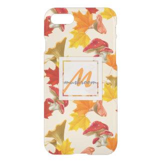 Buntes Herbst-Blätter-und Pilz-Monogramm iPhone 8/7 Hülle