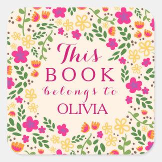 Buntes hübsches Blumen dieses Buch gehört Quadratischer Aufkleber