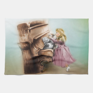 Buntes illustriertes Küche Tuch - Klavier-Mädchen
