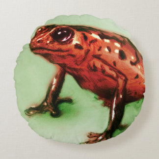 Buntes illustriertes rundes Kissen - Frosch