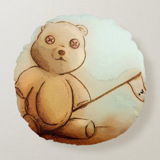 Buntes illustriertes rundes Kissen - Teddy