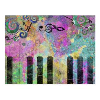 Buntes Klavier der coolen Wasserfarbe-Spritzer Postkarte
