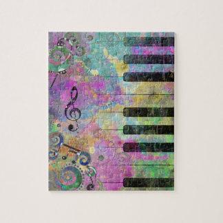 Buntes Klavier der coolen Wasserfarbe-Spritzer Puzzle