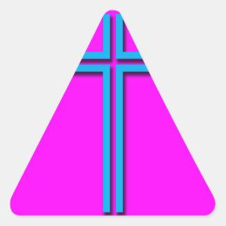 Buntes Kreuz Dreieckiger Aufkleber