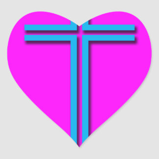 Buntes Kreuz Herz-Aufkleber