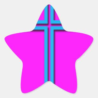 Buntes Kreuz Stern-Aufkleber