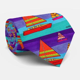 Buntes künstlerisches Aquarell-Ozean-Segelboot Krawatten