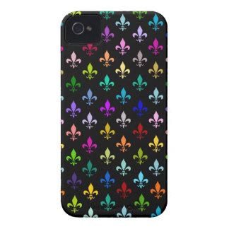 Buntes Lilienmuster auf Schwarzem iPhone 4 Etuis