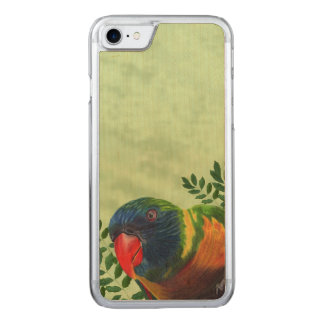 Buntes Macaw-Papageien-Blätter Carved iPhone 8/7 Hülle