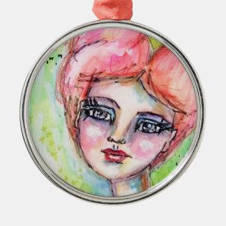 Buntes Mädchen-Aquarell-feenhaftes wunderliches Silbernes Ornament