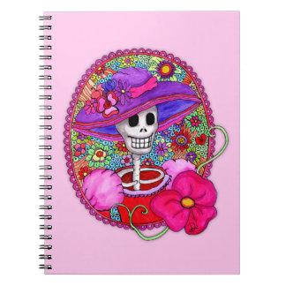 Buntes Mexikaner Catrina Notizbuch Spiral Notizblock
