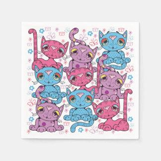 Buntes Miezekatze-Katzen-Muster-Grafikdesign Servietten