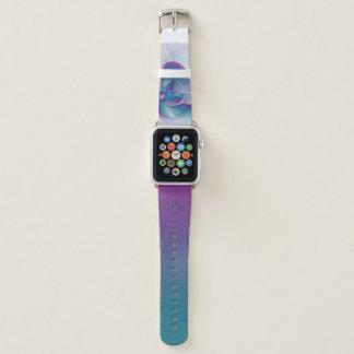Buntes modernes rosa blaues Türkis-Kunst-Monogramm Apple Watch Armband