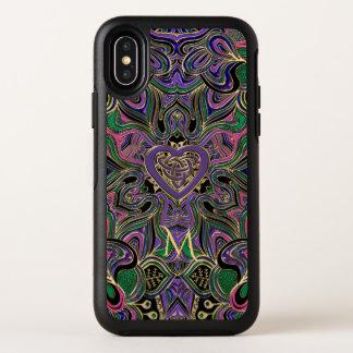 Buntes Monogramm-keltische Herz-Knoten-Mandala OtterBox Symmetry iPhone X Hülle