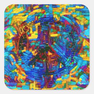 Buntes Mosaikfriedenssymbol Quadratischer Aufkleber