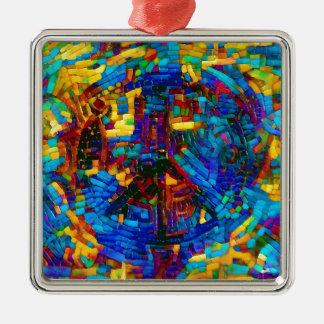 Buntes Mosaikfriedenssymbol Quadratisches Silberfarbenes Ornament