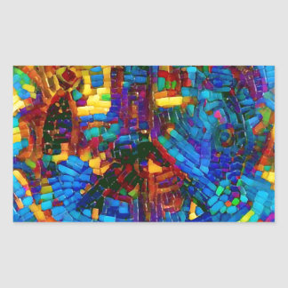 Buntes Mosaikfriedenssymbol Rechteckiger Aufkleber