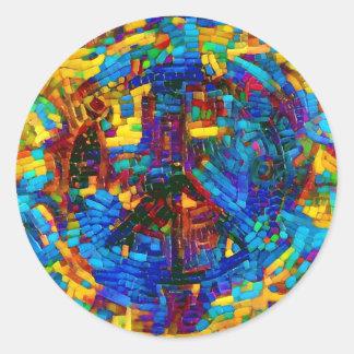 Buntes Mosaikfriedenssymbol Runder Aufkleber