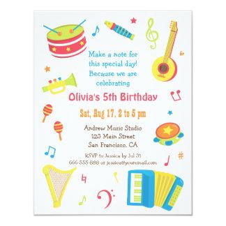 Buntes Musik-Instrument-Kindergeburtstag-Party 10,8 X 14 Cm Einladungskarte