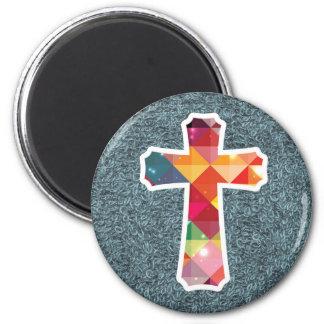Buntes Muster-christlicher heiliger Quermagnet Runder Magnet 5,7 Cm