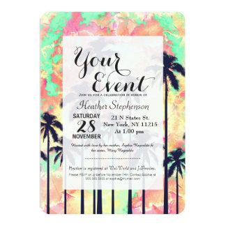 Buntes NeonAquarell mit schwarzen Palmen 12,7 X 17,8 Cm Einladungskarte