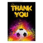 Buntes Neonfußball-Thema danken Ihnen Anmerkungs-K Karte