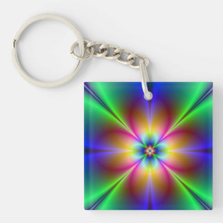 Buntes Neongänseblümchen Schlüsselanhänger
