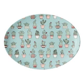 Buntes niedliches Kaktus-in der Hand gezeichnetes Porzellan Servierplatte