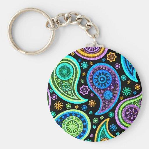 Buntes Paisley-Muster Schlüsselanhänger