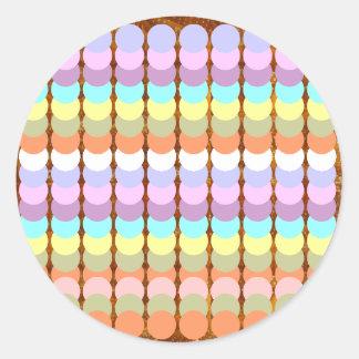 Buntes Papercraft: Durchschlags-Punkt-Patchwork Runder Aufkleber