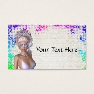 Buntes Partymädchen Visitenkarte