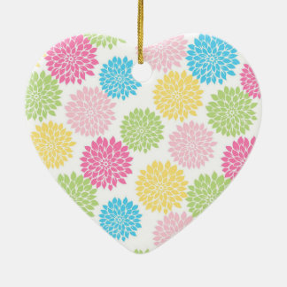 Buntes Pastelldahlie-Blumenmuster Keramik Herz-Ornament