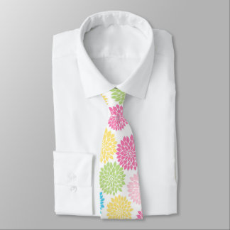 Buntes Pastelldahlie-Blumenmuster Krawatte