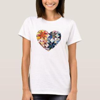Buntes Patchwork-Steppdecken-Herz T-Shirt