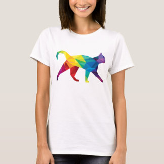 Buntes polygonales Katzen-T-Shirt T-Shirt