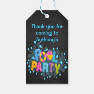 Buntes Pool-Party-personalisierte Geschenkanhänger