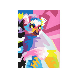 Buntes Pop-Kunstlemur-Porträt Leinwanddruck