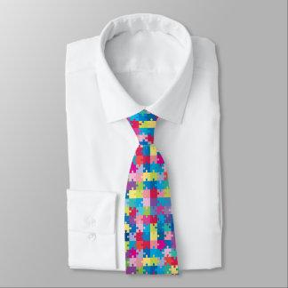Buntes Puzzlespiel-Muster-Autismus-Bewusstsein Krawatte